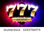 Stock vector  lucky sevens jackpot big win jackpot with triple lucky sevens on bright background gambling 1033706974