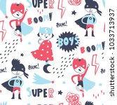 super hero boys. hand drawn... | Shutterstock .eps vector #1033713937