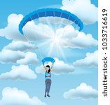 skydiver woman flying in the... | Shutterstock .eps vector #1033716619