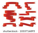red glossy ribbon banners set.... | Shutterstock .eps vector #1033716895