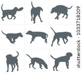 vector dogs silhouettes. set of ... | Shutterstock .eps vector #1033718209