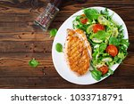 grilled chicken breast and... | Shutterstock . vector #1033718791