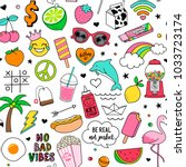 cute fun doodles seamless... | Shutterstock .eps vector #1033723174