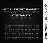 chrome effect alphabet font.... | Shutterstock .eps vector #1033737055