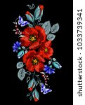 embroidery of cornflowers ... | Shutterstock .eps vector #1033739341