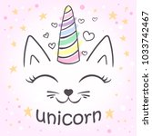 cute unicorn cat for the design ... | Shutterstock .eps vector #1033742467