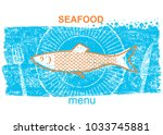 fish label.vintage style of... | Shutterstock .eps vector #1033745881