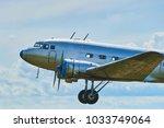 landing old propeller aircraft...   Shutterstock . vector #1033749064