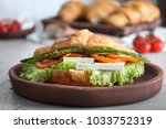 plate with tasty croissant...   Shutterstock . vector #1033752319