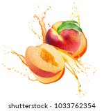 peaches in juice splash... | Shutterstock . vector #1033762354