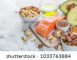 selection of good fat sources   ... | Shutterstock . vector #1033763884