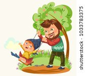 dad rolls his daughter on a... | Shutterstock .eps vector #1033783375