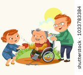 son and daughter care disable... | Shutterstock .eps vector #1033783384