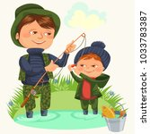 father and son water fishing... | Shutterstock .eps vector #1033783387