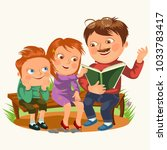 dad read book for childrens in...   Shutterstock .eps vector #1033783417