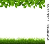 green branches and grass  with... | Shutterstock .eps vector #1033793701