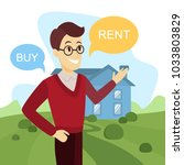 buy or rent house. man thinking ... | Shutterstock .eps vector #1033803829