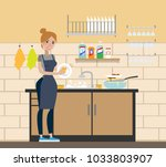 woman at wash room washing the...   Shutterstock .eps vector #1033803907