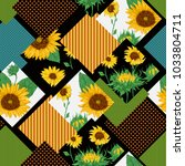 seamless floral patchwork... | Shutterstock .eps vector #1033804711