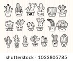 freehand vector drawing  cute... | Shutterstock .eps vector #1033805785