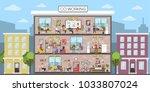 coworking building interior.... | Shutterstock .eps vector #1033807024