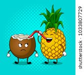 pineapple drinks juice from... | Shutterstock . vector #1033807729