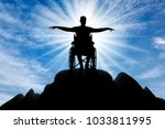 silhouette of happy disabled... | Shutterstock . vector #1033811995