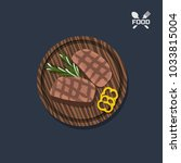 icon of steak on a wooden plate....   Shutterstock .eps vector #1033815004
