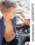 portrait of adolescent young... | Shutterstock . vector #1033825975