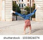 spontaneous young woman... | Shutterstock . vector #1033826074