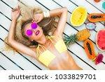 beautiful sexy blonde girl in... | Shutterstock . vector #1033829701