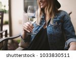 happy blonde woman enjoying... | Shutterstock . vector #1033830511