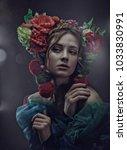 miracle female art portrait... | Shutterstock . vector #1033830991