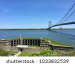Small photo of STATEN ISLAND, NY - MAY 21, 2017: View on Fort Wadsworth, The Narrows and the Verrazano bridge from Staten Island. The Fort is a former United States military installation.