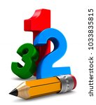 number and pencil on white... | Shutterstock . vector #1033835815