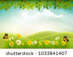 nature spring background with... | Shutterstock .eps vector #1033841407