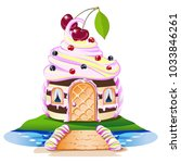 sweet house with a cream... | Shutterstock .eps vector #1033846261