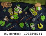 gingerbreads for patrick's day... | Shutterstock . vector #1033848361