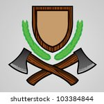 outdoor themed emblem with axe | Shutterstock .eps vector #103384844