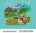 fish farming industry | Shutterstock .eps vector #1033855684