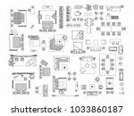 top view of set furniture... | Shutterstock .eps vector #1033860187