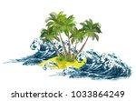 storm sea waves breaking on... | Shutterstock .eps vector #1033864249