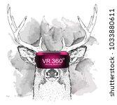 hand draw deer portrait. animal ... | Shutterstock .eps vector #1033880611