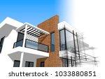 modern house architecture 3d... | Shutterstock . vector #1033880851