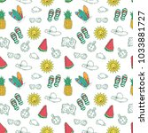 hand drawn style of summer... | Shutterstock .eps vector #1033881727