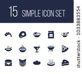 set of 15 food icons set.... | Shutterstock .eps vector #1033883554