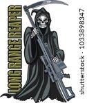 grim reaper holding sniper rifle | Shutterstock .eps vector #1033898347