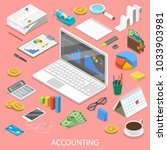 accounting flat isometric... | Shutterstock .eps vector #1033903981