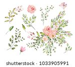 watercolor drawing of twig with ... | Shutterstock . vector #1033905991