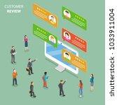 customer review flat isometric... | Shutterstock . vector #1033911004